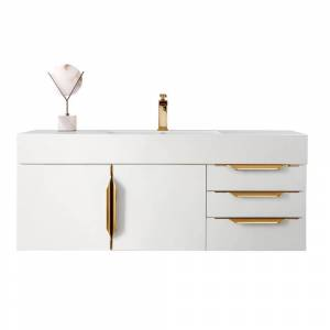 James Martin Vanities Mercer Island 48 in. W Vanity in Glossy White/Radiant Gold with Solid Surface Vanity Top in Matte White with White Basin