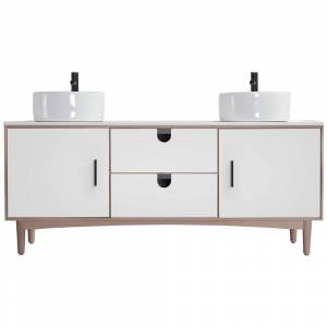 CASAINC Portree 72 in. W x 20.25 in. D Fresstanding Bath Vanity in Matte White with Vanity Top in White with White Basin