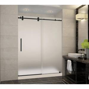 Aston Langham 60 in. x 32 in. x 77.5 in. Frameless Sliding Shower Door with Frosted Glass in Matte Black, Middle Drain