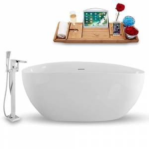Streamline Tub, Faucet, and Tray Set 67 in. Freestanding Acrylic Flatbottom Bathtub in Glossy White