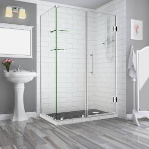 Aston Bromley GS 63.25 to 64.25 x 32.375 x 72 Frameless Corner Hinged Shower Enclosure with Glass Shelves in Stainless Steel