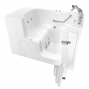 American Standard Gelcoat Value Series 52in. x 32in. Right Hand Touch Control Walk-In Whirlpool Bathtub with Outward Opening Door in White