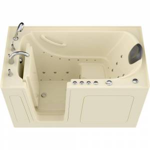 Universal Tubs Safe Premier 59.6 in. x 60 in. x 32 in. Left Drain Walk-in Air and Whirlpool Bathtub in Biscuit