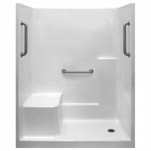 Ella Classic 36 in. x 60 in. x 77 in. 1-Piece Low Threshold Shower Stall in White, Grab Bars, LHS Molded Seat, Right Drain