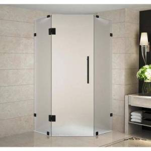 Aston Neoscape 40 in. x 40 in. 72 in. Frameless Hinged Neo-Angle Shower Enclosure with Frosted Glass in Matte Black