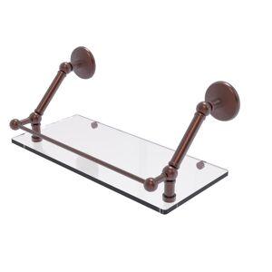 Allied Brass Prestige Monte Carlo 18 in. Floating Glass Shelf with Gallery Rail in Antique Copper