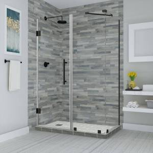Aston Bromley 45.25 in. to 46.25 in. x 32.375 in. x 72 in. Frameless Corner Hinged Shower Enclosure in Matte Black