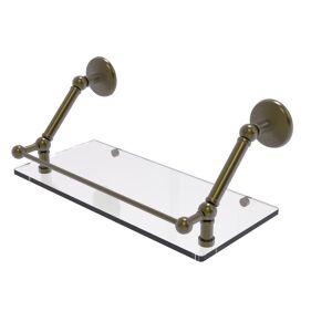 Allied Brass Prestige Monte Carlo 18 in. Floating Glass Shelf with Gallery Rail in Antique Brass