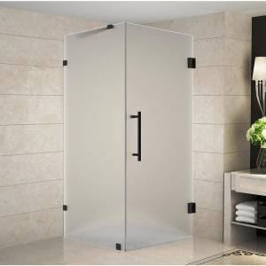 Aston Aquadica 34 in. x 34 in. x 72 in. Frameless Corner Hinged Shower Enclosure with Frosted Glass in Matte Black
