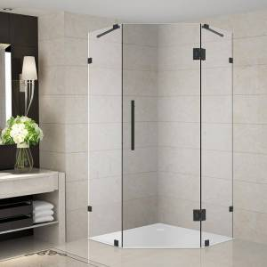 Aston Neoscape 40 in. x 40 in. x 72 in. Frameless Neo-Angle Hinged Shower Enclosure in Matte Black