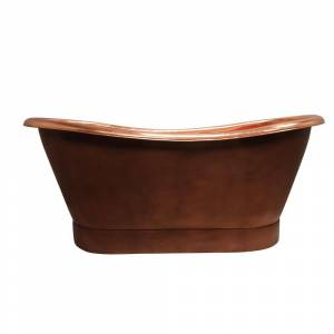 Barclay Products Chopin 70 in. Copper Double Slipper Flatbottom Non-Whirlpool Bathtub, Smooth Antique Copper