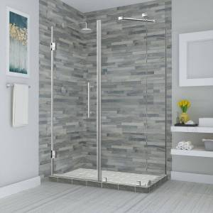 Aston Bromley 75.25 in. to 76.25 in. x 32.375 in. x 72 in. Frameless Corner Hinged Shower Enclosure in Stainless Steel