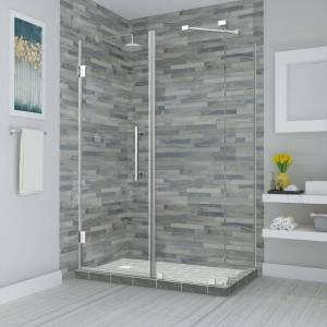 Aston Bromley 43.25 in. to 44.25 in. x 32.375 in. x 72 in. Frameless Corner Hinged Shower Enclosure in Chrome