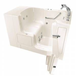 American Standard Gelcoat Value Series 52in. x 32in. Right Hand Touch Control Walk-In Whirlpool Bathtub with Outward Opening Door in Linen