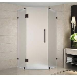 Aston Neoscape 34 in. x 72 in. x 34 in. Frameless Neo-Angle Hinged Shower Door in Bronze with Frosted Glass