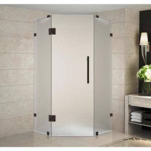 Aston Neoscape 40 in. x 40 in. 72 in. Frameless Hinged Neo-Angle Shower Enclosure with Frosted Glass in Bronze