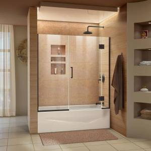 DreamLine Unidoor-X 58-58.5 in. x 58 in. Frameless Hinged Tub Door in Oil Rubbed Bronze
