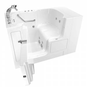 American Standard Gelcoat Value Series 52 in. x 32 in. Left Hand Walk-In Whirlpool and Air Bathtub with Outward Opening Door in White