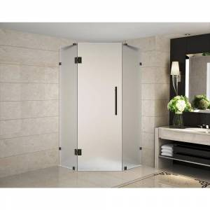 Aston Neoscape 42 in. x 42 in. 72 in. Frameless Hinged Neo-Angle Shower Enclosure with Frosted Glass in Oil Rubbed Bronze