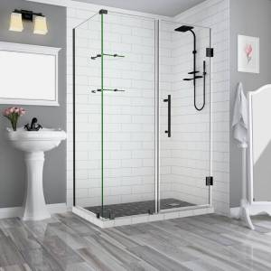 Aston 59.25 in. to 60.25 in. x 32.375 in. x 72 in. Frameless Corner Hinged Shower Enclosure with Glass Shelves in Matte Black