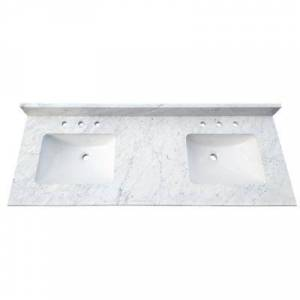 Tile&Top 61 in. W x 22 in. D x 1 in. H Bianco Carrara White Marble Double Basin Vanity Top with White Basins