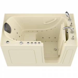 Universal Tubs Safe Premier 59.6 in. x 60 in. x 32 in. Right Drain Walk-in Air and Whirlpool Bathtub in Biscuit