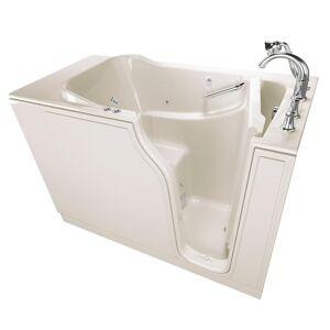 American Standard Gelcoat Value Series 52 in. Walk-In Whirlpool and Air Bath Bathtub in Linen