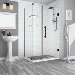 Aston 43.25 in. to 44.25 in. x 32.375 in. x 72 in. Frameless Corner Hinged Shower Enclosure with Glass Shelves in Matte Black