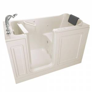 American Standard Acrylic Luxury 60 in. Left Hand Walk-In Whirlpool and Air Bathtub in Linen
