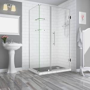Aston Bromley GS 41.25 to 42.25 x 32.375 x 72 in Frameless Corner Hinged Shower Enclosure w/ Glass Shelves in Stainless Steel