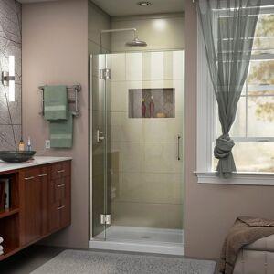DreamLine Unidoor-X 34 in. x 72 in. Frameless Hinged Shower Door in Brushed Nickel