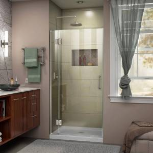 DreamLine Unidoor-X 35 in. x 72 in. Frameless Hinged Shower Door in Brushed Nickel