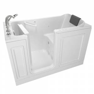 American Standard Acrylic Luxury 60 in. Left Hand Walk-In Whirlpool and Air Bathtub in White
