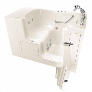 American Standard Gelcoat Value Series 52 in. x 32 in. Right Hand Walk-In Whirlpool and Air Bathtub with Outward Opening Door in Linen