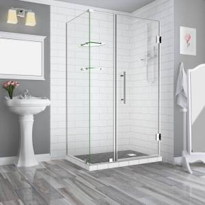 Aston Bromley GS 39.25 to 40.25 x 32.375 x 72 in Frameless Corner Hinged Shower Enclosure w/ Glass Shelves in Chrome