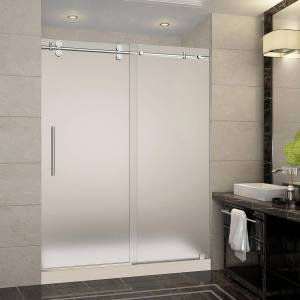 Aston Langham 60 in. x 32 in. x 77.5 in. Completely Frameless Sliding Shower Door with Frosted in Chrome with Left Base
