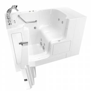 American Standard Gelcoat Value Series 52in. x 32in. Left Hand Touch Control Walk-In Whirlpool Bathtub with Outward Opening Door in White