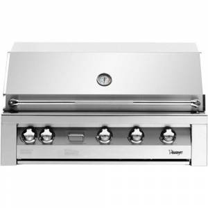 ALMO 42 in. 4-Burner Natural Gas Grill in Stainless with Sear Zone and 2-Door Cart, Silver