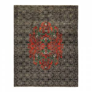 Solo Rugs One-of-a-Kind Suzani Black 8 ft. 1 ft. x 10 ft. 2 ft. Hand Knotted Area Rug