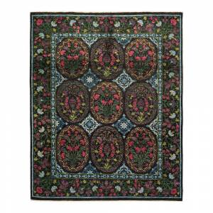 Solo Rugs One-of-a-Kind Suzani Black 8 ft. 3 ft. x 10 ft. 2 ft. Hand Knotted Area Rug