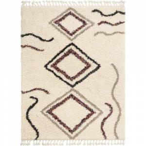 Well Woven Asilah Demi Tribal Diamond Shag Ivory 9 ft. 3 in. x 12 ft. 6 in. Area Rug