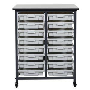 Luxor 37 in. x 30 in. Mobile Bin Storage Cart Double Row and Single Bin Plastic in Black Frame
