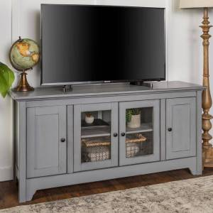 Walker Edison Furniture Company Hastings 53 in. Gray Wood TV Stand 55 in. with Glass Doors