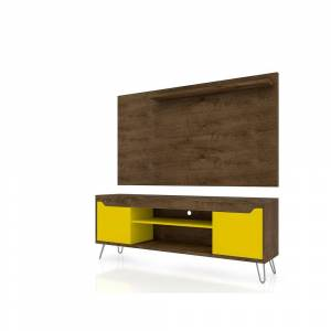 Luxor Baxter 63 in. Rustic Brown and Yellow Particle Board Entertainment Center Fits TVs Up to 50 in. with Wall Panel