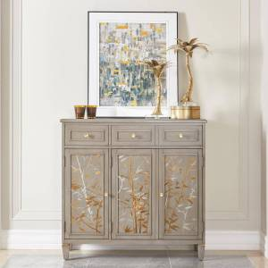 Taylor Jennifer Taylor Home Dauphin Handpainted Grey Cashmere Entryway Freestanding Storage Cabinet