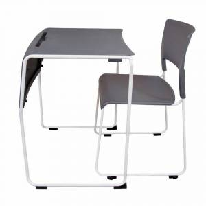 LUXOR Lightweight Stackable Student Desk and Chair - 4 Pack- Slate Gray, Slate Gray/ white