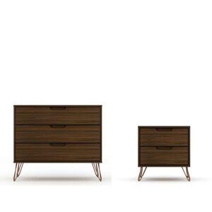 Luxor Intrepid 5-Drawer Brown Mid-Century Modern Dresser and Nightstand (Set of 2)
