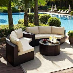 Crosley Catalina 4-Piece Wicker Outdoor Sectional Set with Sand Cushions