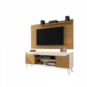 Luxor Baxter 63 in. Cinnamon and Off-White Particle Board Entertainment Center Fits TVs Up to 50 in. with Wall Panel, Cinnamon and Off White