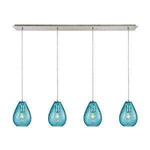 Titan Lighting Lagoon 4-Light Linear Pan in Satin Nickel with Aqua Water Glass Pendant